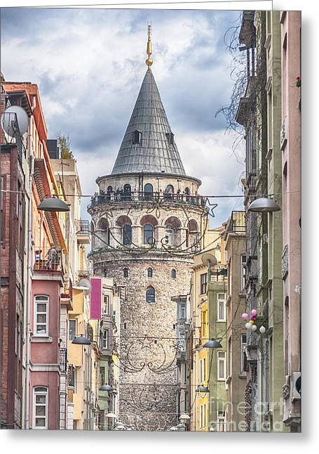 Istanbul Galata Tower Greeting Card by Antony McAulay