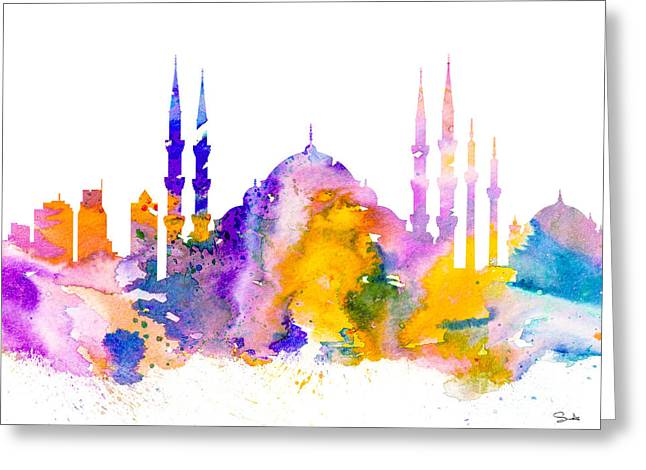 Istanbul Greeting Card by Watercolor Girl