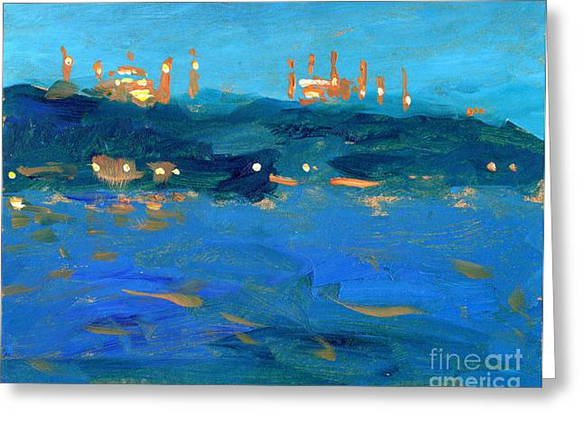 Istanbul Mosques At Dusk Greeting Card by Valerie Freeman