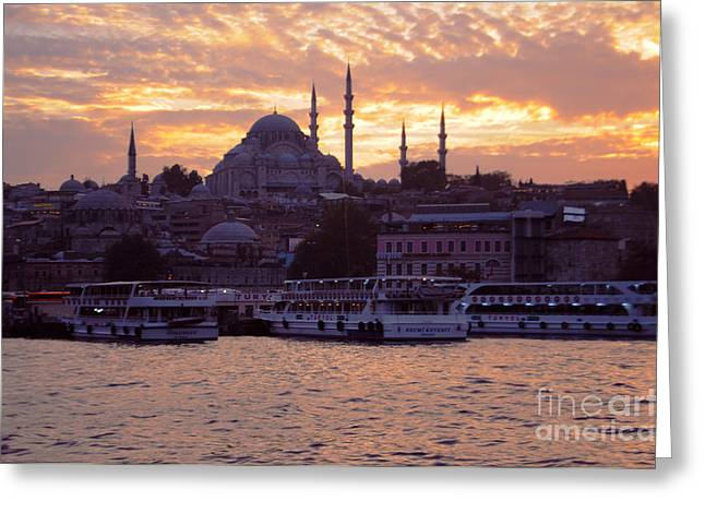 Istanbul Port Sunset Greeting Card