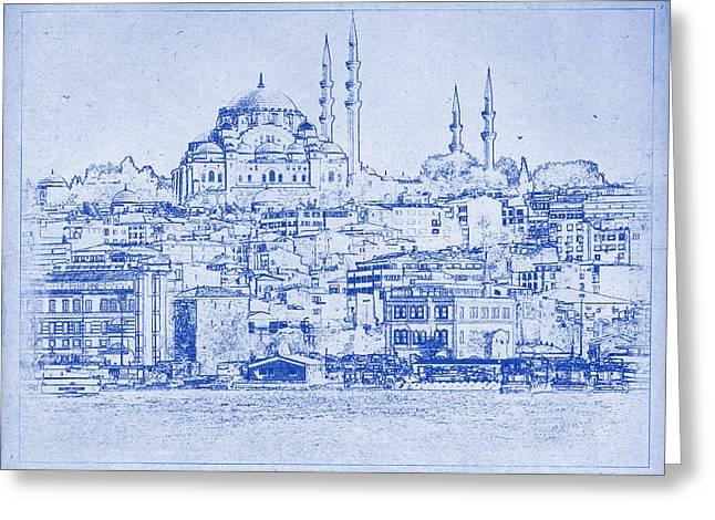Istanbul Skyline Blueprint Greeting Card by Kaleidoscopik Photography