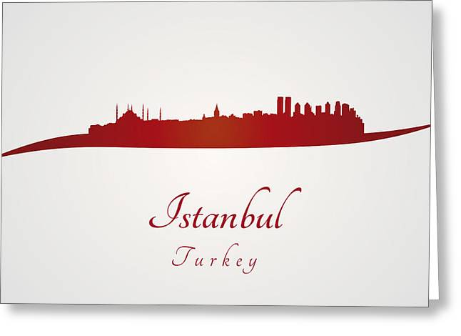 Istanbul Skyline In Red Greeting Card by Pablo Romero
