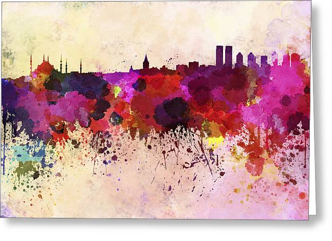 Istanbul Skyline In Watercolor Background Greeting Card by Pablo Romero