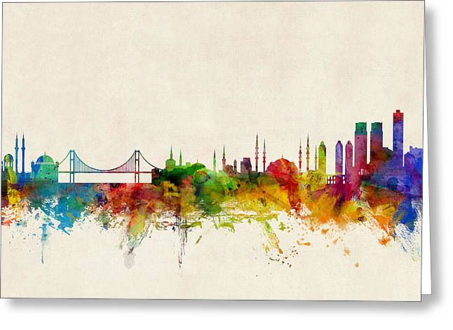 Istanbul Turkey Skyline Greeting Card by Michael Tompsett