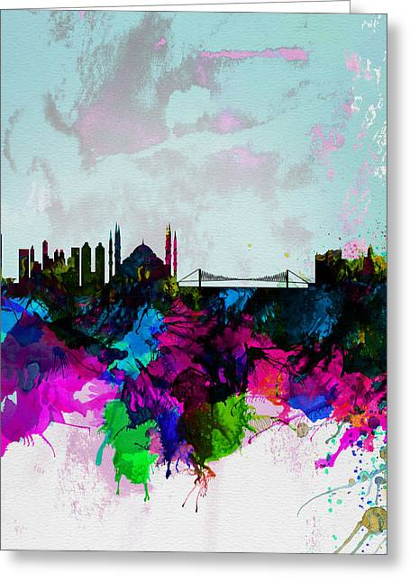Istanbul Watercolor Skyline Greeting Card by Naxart Studio