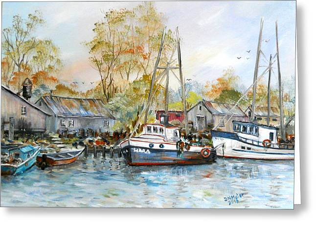 It Is A Busy Day Here At The Marina Greeting Card by Dorothy Maier