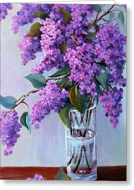 It Is Lilac Time Greeting Card by Marta Styk