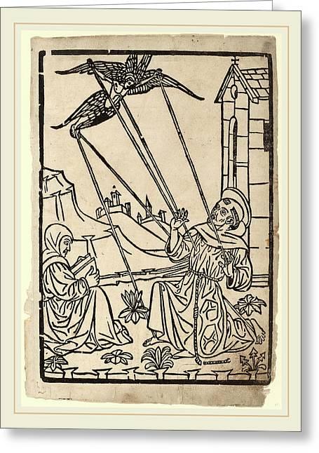 Italian 15th Century, Saint Francis Receiving The Stigmata Greeting Card by Litz Collection