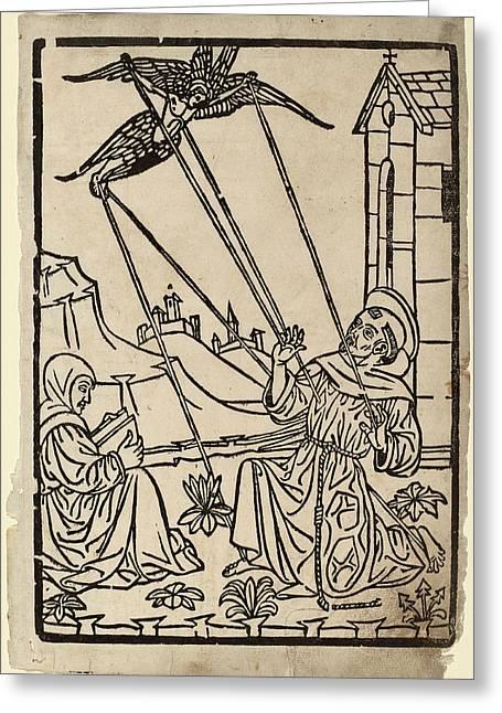 Italian 15th Century, Saint Francis Receiving The Stigmata Greeting Card by Quint Lox