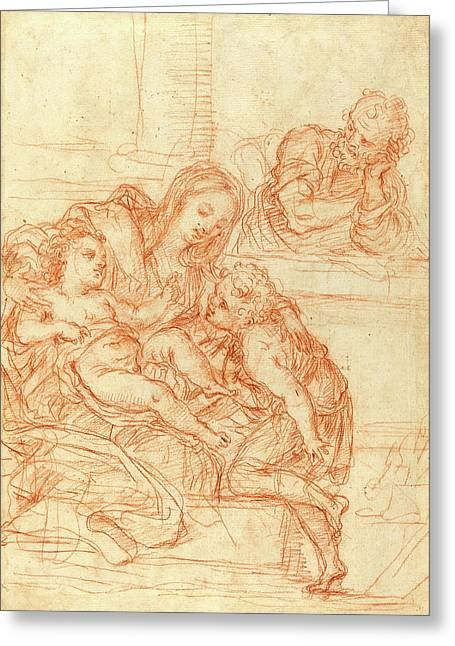 Italian 17th Century, Madonna And Child With Saints John Greeting Card by Litz Collection