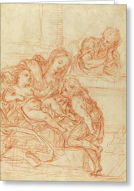 Italian 17th Century, Madonna And Child With Saints John Greeting Card by Quint Lox