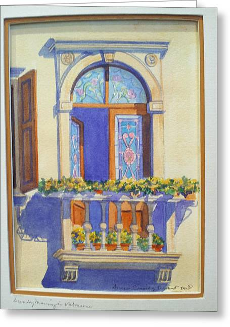 Italian Balcony In Spring Greeting Card by Susan Wilhoit