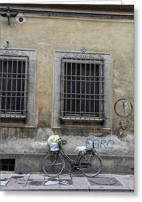 Italian Bicycle Greeting Card by Nancy Ingersoll