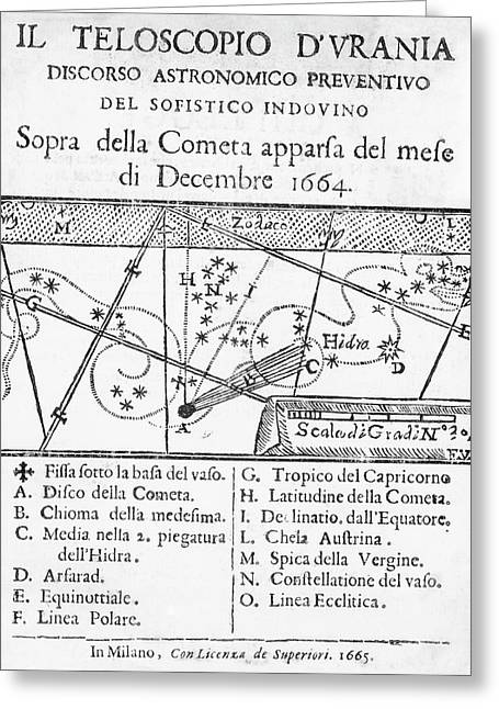 Italian Book On The Comet Of 1664-5 Greeting Card by Royal Astronomical Society