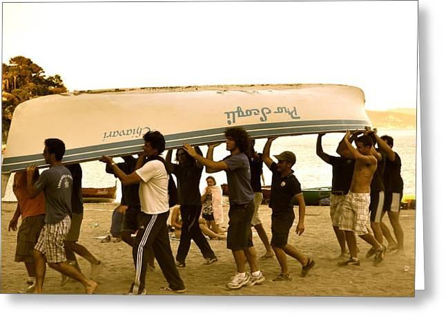 Italian Boys Loading Boat Greeting Card