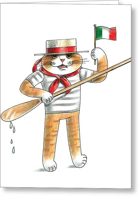 Italian Cat Greeting Card by Louise McClain Reeves