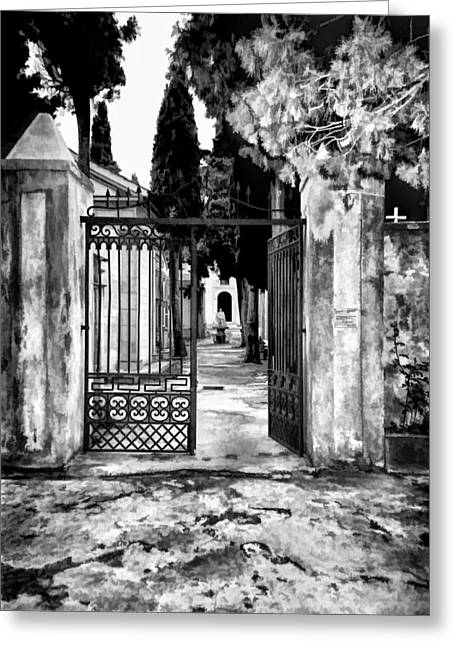 Greeting Card featuring the photograph Old Italian Cemetery by Donna Proctor