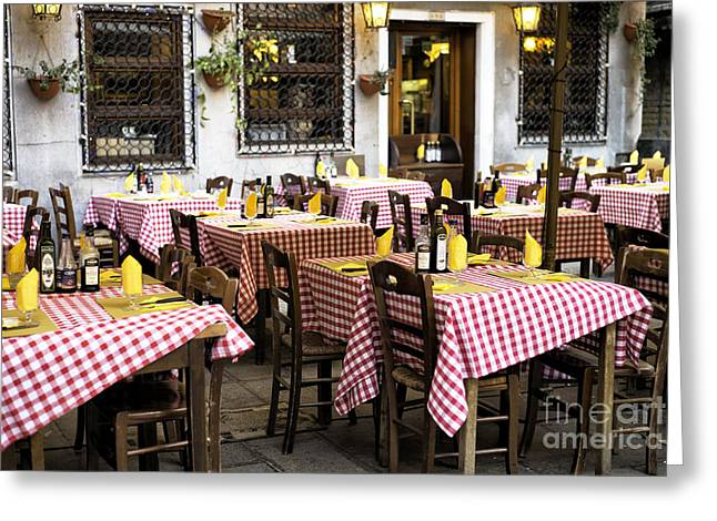 Italian Dining In Venice Greeting Card by John Rizzuto