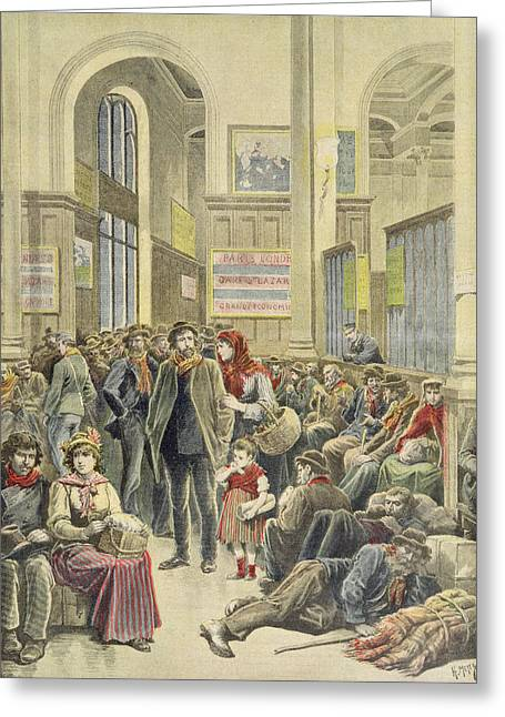 Italian Emigrants At Gare Saint-lazare, From Le Petit Journal, 29th March 1896 Coloured Engraving Greeting Card by Henri Meyer