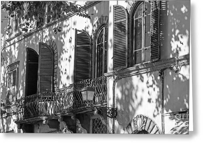 Italian Facade In Bw Greeting Card