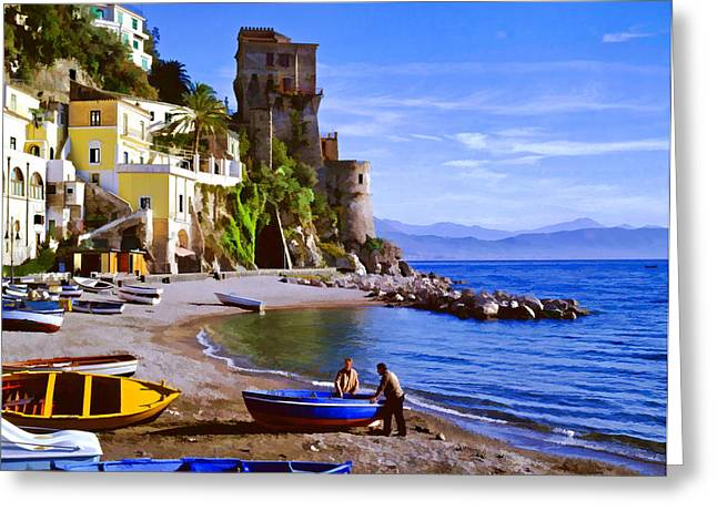 Italian Fishermen On The Amalfi Coast Greeting Card by Cliff Wassmann