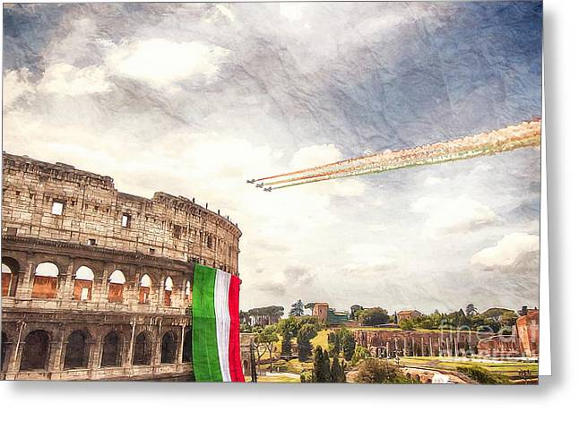 Italian Flag In Rome Greeting Card by Stefano Senise