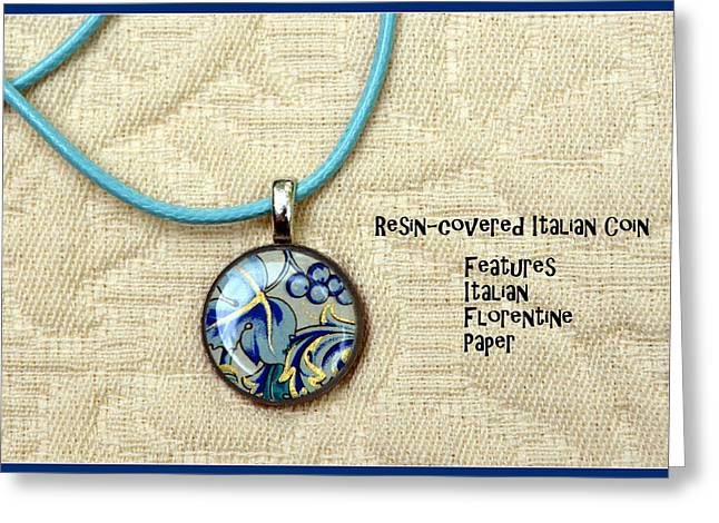 Italian Florentine Number 1 Grapes And Leaves Pendant Greeting Card