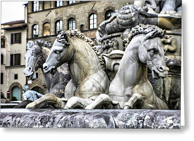 Italian Fountain Greeting Card by Greg Sharpe