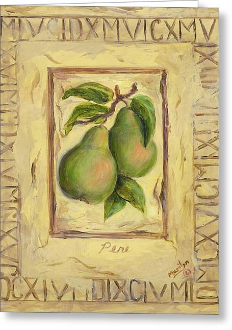 Italian Fruit Pears Greeting Card by Marilyn Dunlap