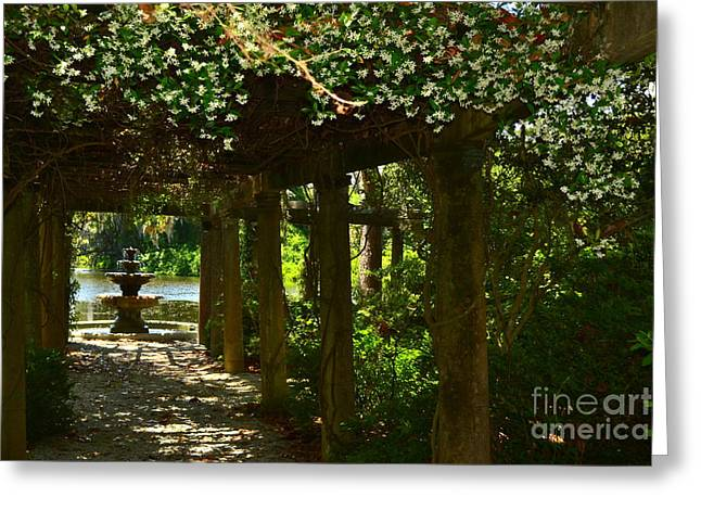 Italian Garden Pergola And Fountain Greeting Card