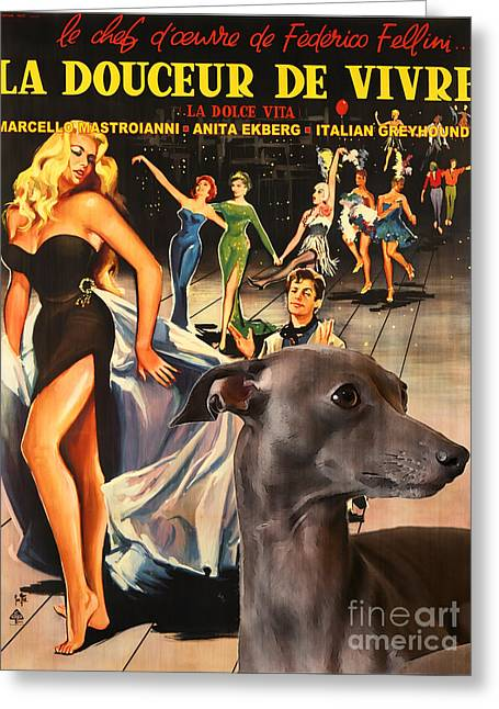 Italian Greyhound Art - La Dolce Vita Movie Poster Greeting Card