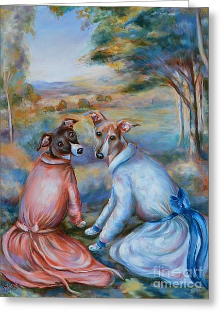 Italian Greyhounds Renoir Style Greeting Card