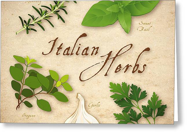 Italian Herbs Greeting Card by J M Designs