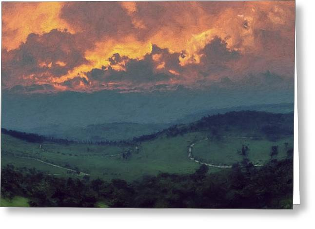 Italian Hills Sunset Greeting Card by Lonnie Christopher
