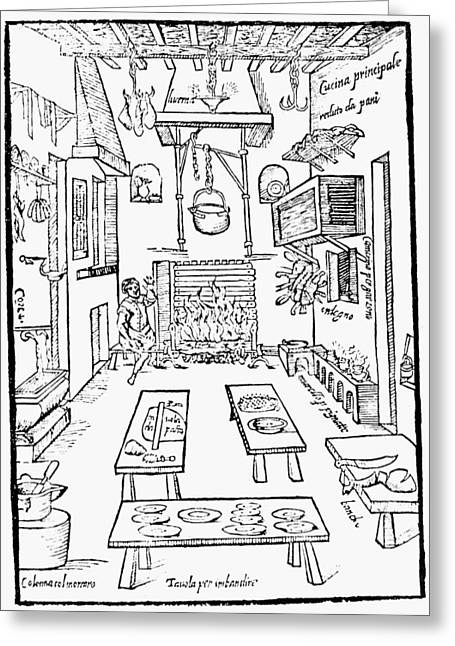 Italian Kitchen, 1570 Greeting Card by Granger