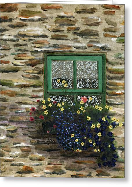 Italian Lace Window Box Greeting Card by Cecilia Brendel