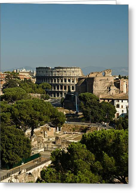 Italian Landscape With The Colosseum Rome Italy  Greeting Card by Marianne Campolongo