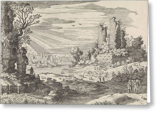 Italian Landscape With Tobias And The Angel Greeting Card by William Of Nieulandt Ii And H. Bonnart