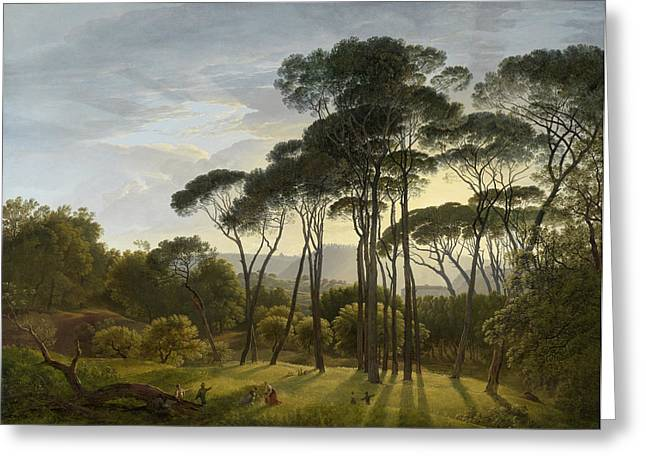 Italian Landscape With Umbrella Pines, Hendrik Voogd Greeting Card by Quint Lox