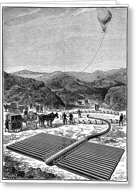 Italian Military Hydrogen Balloon Greeting Card by Science Photo Library