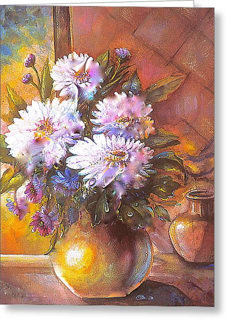 Greeting Card featuring the painting Italian Mums In Gold by Patricia Schneider Mitchell