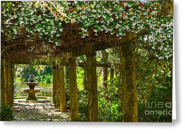 Italian Pergola Garden Fountain  Greeting Card by Amy Lucid