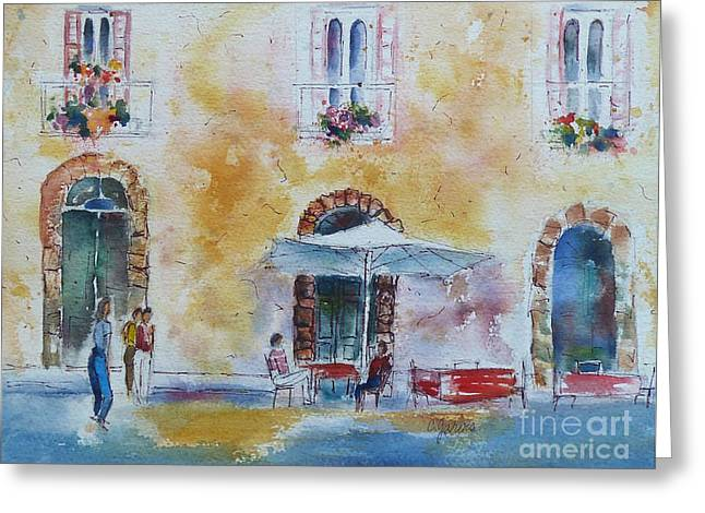 Italian Piazza Greeting Card by Carolyn Jarvis