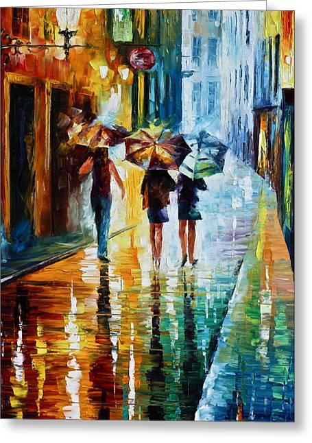Italian Rain Greeting Card by Leonid Afremov