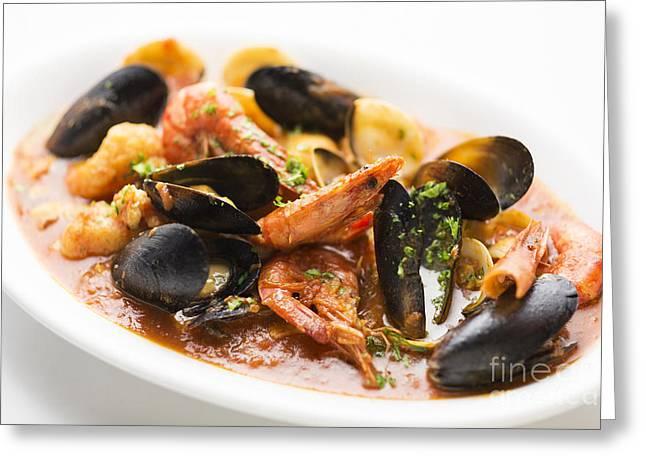 Italian Seafood Stew Greeting Card by Jacek Malipan
