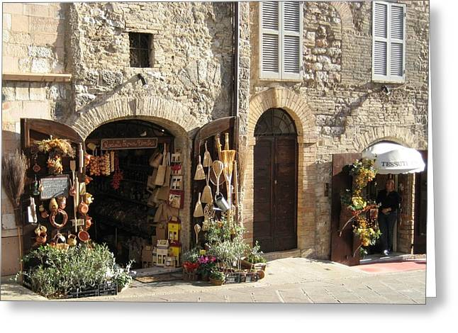 Italian Shops Greeting Card by Crow River North Photography
