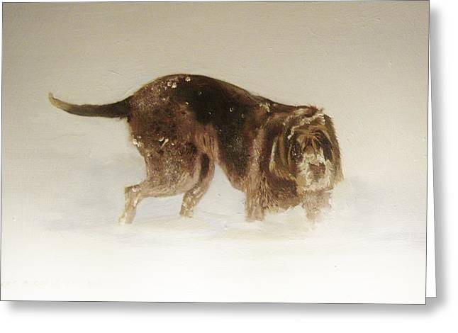 Italian Spinone In The Snow Greeting Card