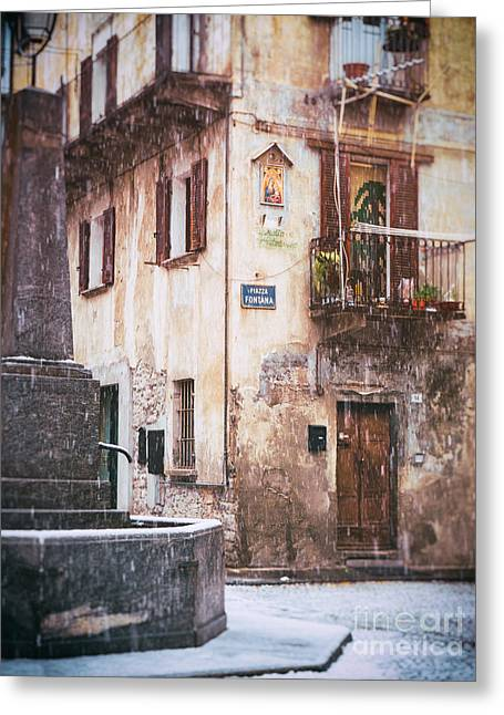 Greeting Card featuring the photograph Italian Square In  Snow by Silvia Ganora