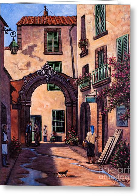 Italian Street Greeting Card by Ricardo Chavez-Mendez