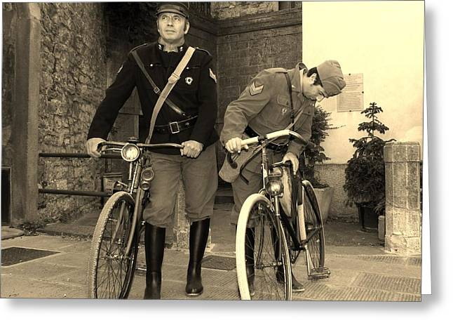 Italian Vintage Firemen Cyclists Greeting Card